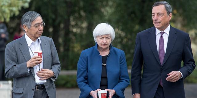 """מימין מריו דראגי נגיד הבנק האירופי המרכזי, יו""""ר הפד ג'נט ילן ונגיד הבנק של יפן"""