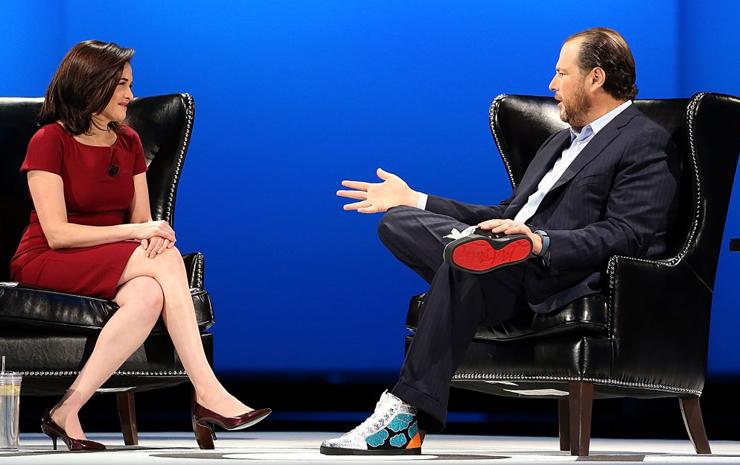 """מימין: מרק בניוף, מנכ""""ל Salesforce , צילום: גטי אימג"""