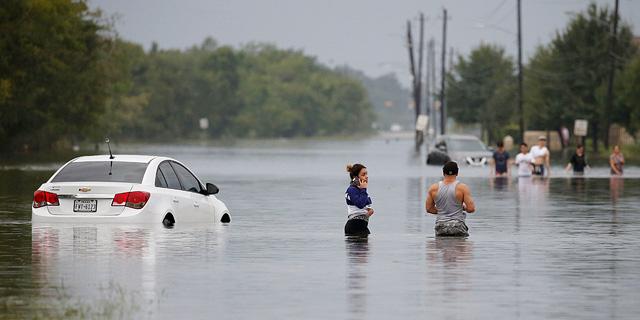 הצפות בטקסס בעקבות הוריקן הארווי, בשנה שעברה, צילום: רויטרס