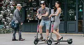 Electric scooters in Singapore. Photo: Popscoot