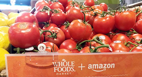 עגבניות בסניף הול פודס בשיתוף עם אמזון, צילום: רויטרס