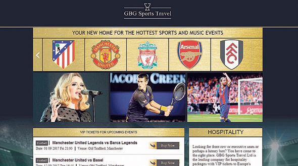 The GBG Sports Travel website
