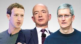 """מימין: טים קוק מנכ""""ל אפל, ג'ף בזוס מנכ""""ל אמזון ומארק צוקרברג מנכ""""ל פייסבוק, צילום: איי אף פי, בלומברג, אי פי איי"""