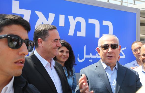 ישראל כץ  בנימין נתניהו רכבת כרמיאל, צילום: משרד התחבורה