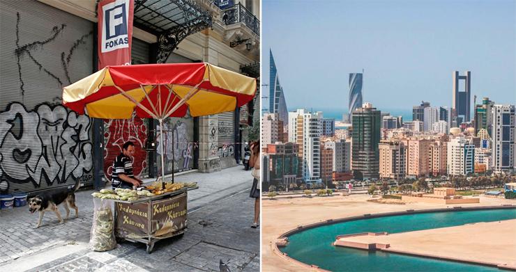 מימין: בחריין, המקום הכי טוב עבור מהגרי עבודה; יוון, המקום הכי גרוע עבורם, צילומים: ויקיפדיה , בלומברג