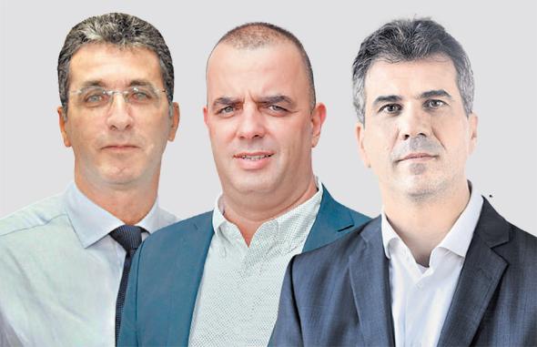 מימין אלי כהן אייל רביד יוני שסטוביץ, צילום: דוברות המפלגה כולנו, אוראל כהן, אביגיל עוזי
