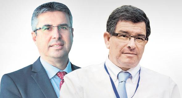 """מימין: מנכ""""ל הדואר דני גולדשטיין ומנהל רשות המסים משה אשר"""