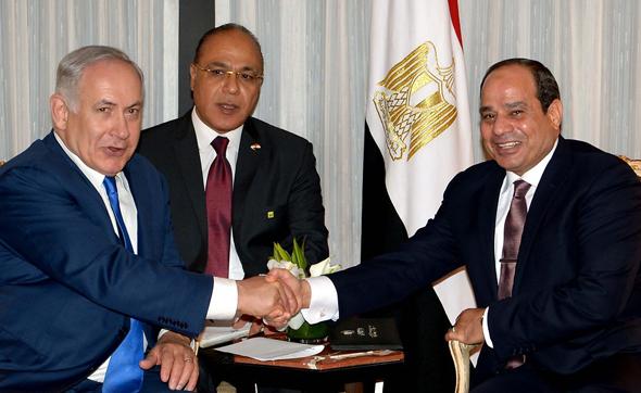 """בנימין נתניהו נפגש עם א סיסי נשיא מצרים, צילום: אבי אוחיון, לע""""מ"""