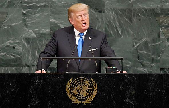 """נשיא ארה""""ב דונלד טראמפ נואם בעצרת ה 72 של האו""""ם, צילום: איי אף פי"""