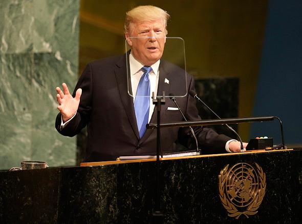 """נשיא ארה""""ב דונלד טראמפ נואם בעצרת ה 72 של האו""""ם, צילום: איי פי"""