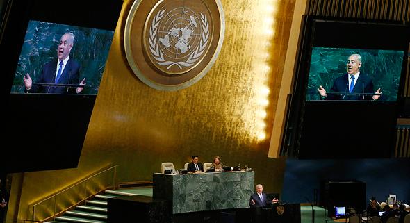 """ראש הממשלה בנימין נתניהו נואם ב או""""ם ניו יורק 3, צילום: רויטרס"""