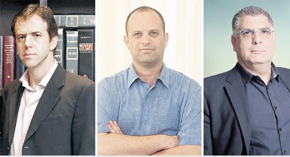 נאמני מגה מימין אמיר ברטוב גבי טרבלסי ו אהוד גינדס, צילום: עמית שעל, אוראל כהן, יובל חן