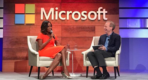מישל אובמה ועידת מיקרוסופט נשיא מיקרוסופט בראד סמית, צילום: Microsoft