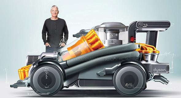 מייסד החברה, סר ג'יימס דייסון, על רקע הדמיית מכונית משואב אבק דייסון