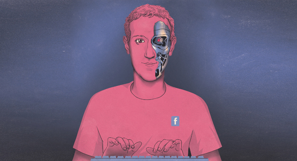 איור טכנולוגי מארק צוקרברג פייסבוק, איור: יונתן פופר