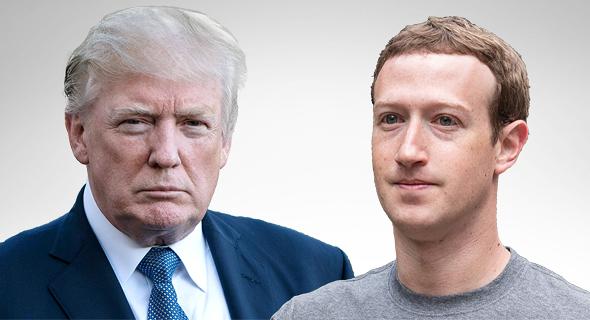 """מימין מייסד פייסבוק מארק צוקרברג ונשיר ארה""""ב דונלד טראמפ, צילום: איי אף פי"""