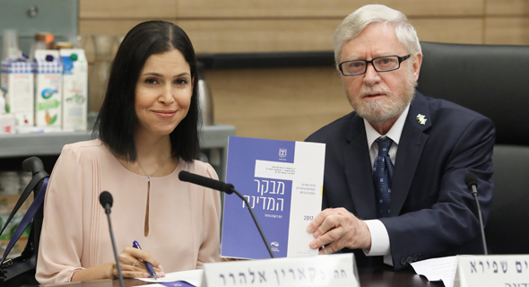 מבקר המדינה יוסף שפירא ו קארין אלהרר, צילום: יצחק הררי דוברות הכנסת