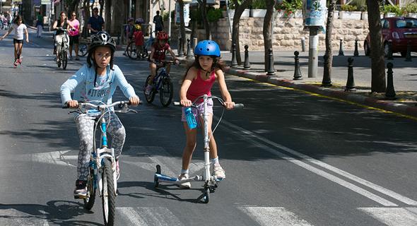 Kids riding bikes on Yom Kippur