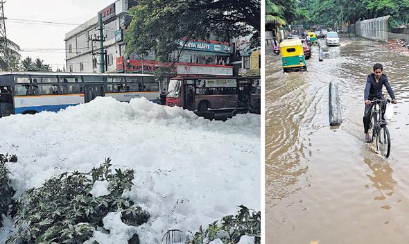 הצפות לאחר גשמים 2017 (משמאל קצף רעיל שהתפזר)