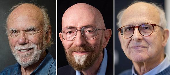 שלושת זוכי פרס נובל לפיסיקה 2017. מימין: הפרופסורים ריינר וייס, בארי באריש וקיפ סטפן תורן