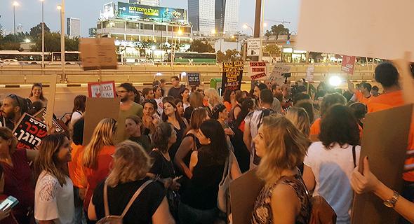 הפגנת המורים בקריית הממשלה, הערב, צילום: ספי קרופסקי