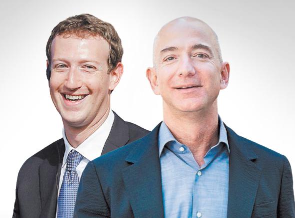 מימין מייסד אמזון ג'ף בזוס ו מייסד פייסבוק מארק צוקרברג, צילום: בלומברג, אי.פי