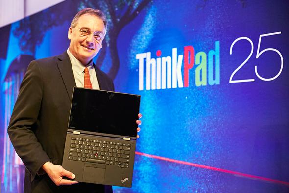 Lenovo Chief Design Officer David Hill presenting a laptop