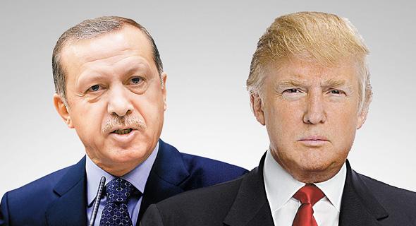 """מימין נשיא ארה""""ב דונלד טראמפ ונשיא טורקיה רג'פ טאיפ ארדואן, צילום: איי אף פי, רויטרס"""
