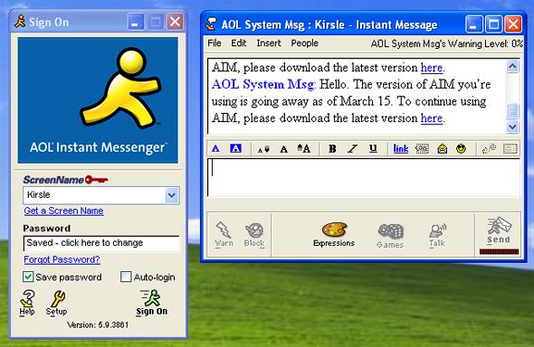 אפליקציית AIM בימי הזוהר של שנות התשעים