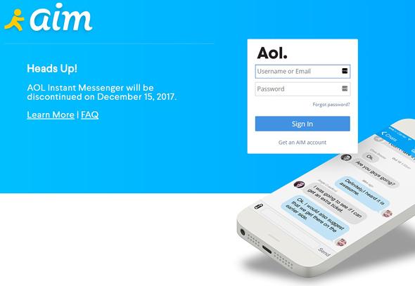 הודעת סגירת AIM באתר השירות