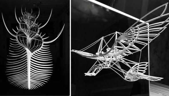 """מודל של ספיטפייר והעבודה """"המסרק של ונוס"""" (משמאל) שבנה שייח"""