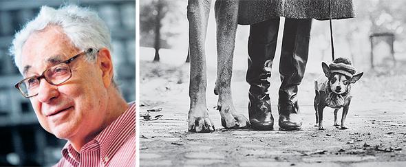 אליוט ארוויט (משמאל) ואחד מצילומיו. התמונות שצילם מהוות השראה לאיורי קלמן בתערוכה