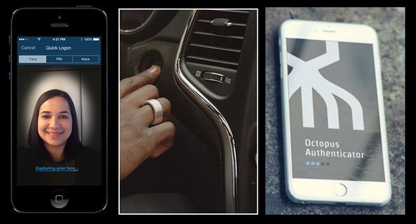 עתיד אימות הזהות. מימין: יישום סיקרט דאבל אוקטופוס, טבעת RFID ומערכת USAA