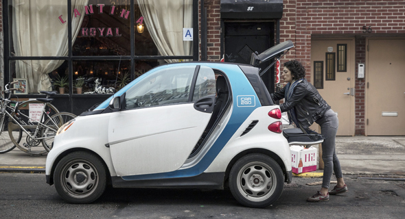 A Daimler Smart car in New York. Photo: Bloomberg