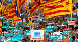 הפגנות מפגינים ברצלונה קטלוניה , צילום: איי אף פי