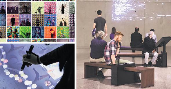 """מימין בכיוון השעון: חלל הכניסה במוזיאון לזכר אסון 11 בספטמבר, """"עט קסם"""" במוזיאון קופר־יואיט ומיצב אינטראקטיבי בקופר־יואיט, צילום: טל ברוכיאל"""