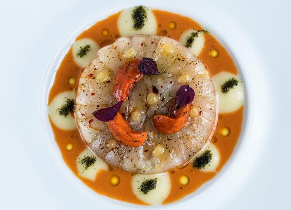 מקרל ים תיכוני כרשה ואברי רבייה של קיפוד ים במסעדת Oustau בפרובאנס