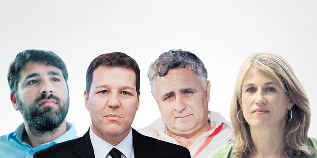 מימין: שרון וכסלר, רמי שביט, טל בננסון ומוטי פלד. רוכשי הדירות התחייבו לא לתבוע במשך שנתיים את החברה המארגנת, צילום: עמית שאבי, יריב כץ, צביקה טישלר, עמית שעל