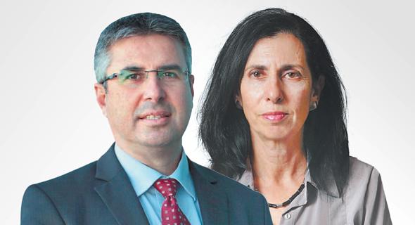מימין הממונה על שוק ההון דורית סלינגר ו מנהל רשות המסים משה אשר, צילום: אלכס קולומויסקי, עמית שעל