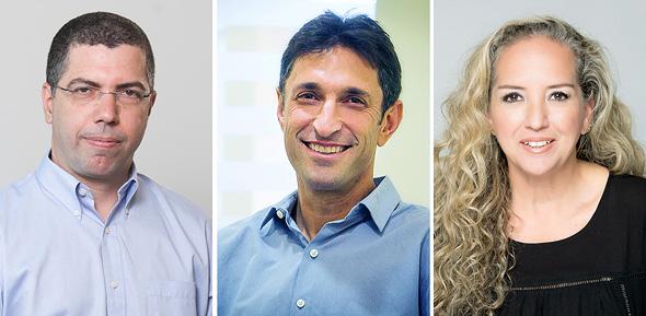 """מימין: שלי לנצמן מנכ""""לית מיקרוסופט ישראל, דוד גוסרסקי שותף בקרן לייטספיד ואריק קליינשטיין מייסד ושותף-מנהל בגלילות קפיטל"""
