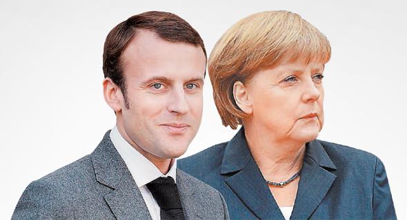 מימין קנצלרית גרמניה אנגלה מרקל וראש ממשלת צרפת עמנואל מקרון, צילום: אי פי איי, רויטרס