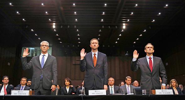 נציגי פייסבוק, טוויטר וגוגל בסנאט לפני שבוע.  האם הן רק פלטפורמות או גם כלי תקשורת נפוצים?