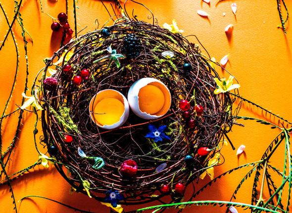 ביצים עשויות סוכר ובתוכן קוקטייל מנגו וטקילה