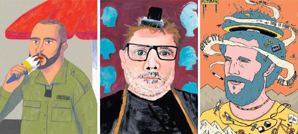 מתוך שבוע האיור (מימין לשמאל): עבודותיהם של ארז שמח, נורה פורת וסשה זילברמן