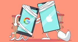 אפל גוגל איור טכנולוגי, איור: ערן מנדל