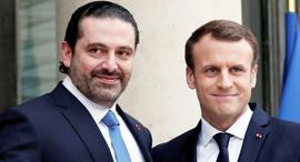 נשיא צרפת מקרון ואל-חרירי בפריז, צילום: רויטרס