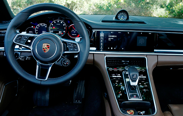 The inside of a Porsche. Photo: Amit Sha'al