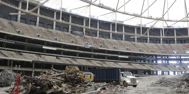 צפו: היכל הספורט המיתולוגי של ג'ורג'יה נהרס בפיצוץ מבוקר