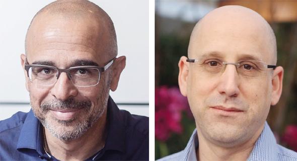 """משמאל: מנכ""""ל פרטנר איציק בנבנישתי ומנכ""""ל סלקום ניר שטרן, צילום: נמרוד גליקמן, תומי הרפז"""