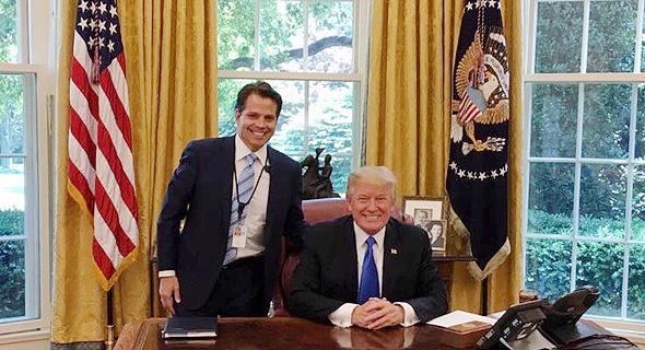 """טראמפ וסקרמוצ'י בימי העבודה המשותפת. """"מלכתחילה לא חשבתי שאשרוד בבית הלבן למשך זמן, כי הביאו אותי על תקן מניף גרזן"""""""